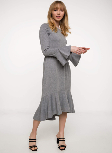 DeFacto İspanyol Kol Volanlı Midi Elbise Gri